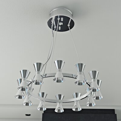 Augusta 12-Light Shaded Chandelier Shade Color: Chrome