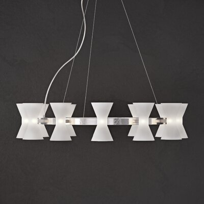 Augusta 12-Light Shaded Chandelier Shade Color: Frosted Glass