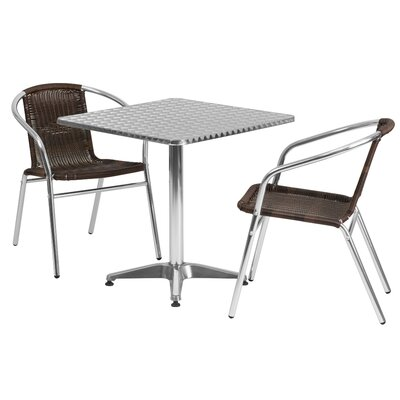 Mclendon Square 3 Piece Bistro Set Table Size: 27.25 H x 27.5 W x 27.5 D