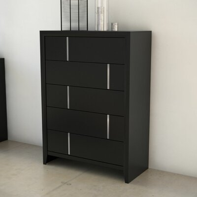 Langford 5 Drawer Chest by Simmons Casegoods Color: Black