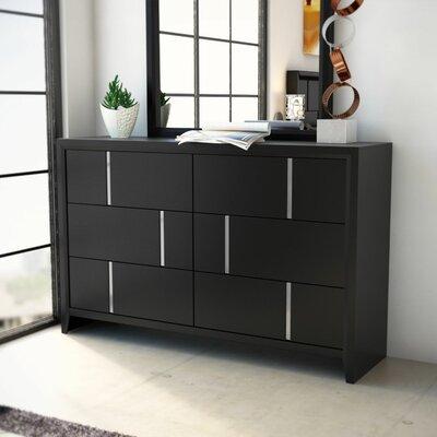 Langford 6 Drawer Dresser by Simmons Casegoods Color: Black