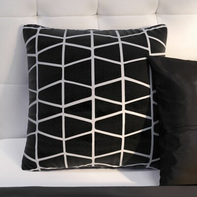 Barnes Cotton Throw Pillow Size: 20 H x 20 W x 4 D, Color: Black/Ivory