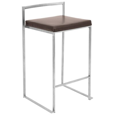 Gary 27 Bar Stool Fabric Color: Brown, Finish: Stainless Steel