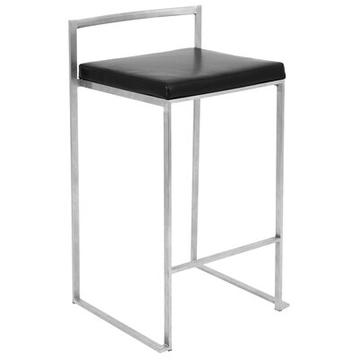 27 Square Stainless Steel Bar Stool Upholstery: Black, Finish: Stainless Steel