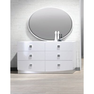 Mikolas 6 Drawer Dresser with Mirror