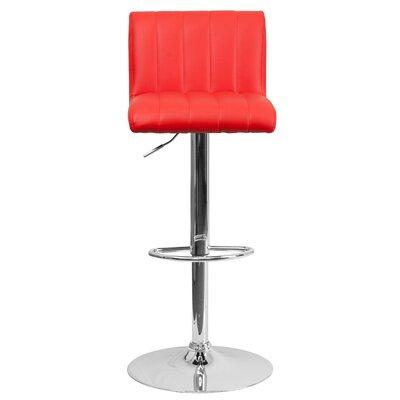 Alandra Adjustable Height Swivel Bar Stool Upholstery: Red