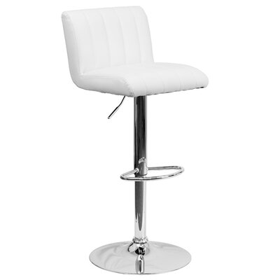 Alandra Adjustable Height Swivel Bar Stool Upholstery: White