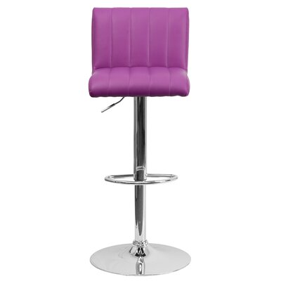 Alandra Adjustable Height Swivel Bar Stool Upholstery: Purple