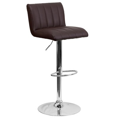 Alandra Adjustable Height Swivel Bar Stool Upholstery: Brown