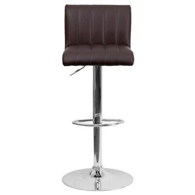 Alandra Adjustable Height Swivel Bar Stool Upholstery: Brown