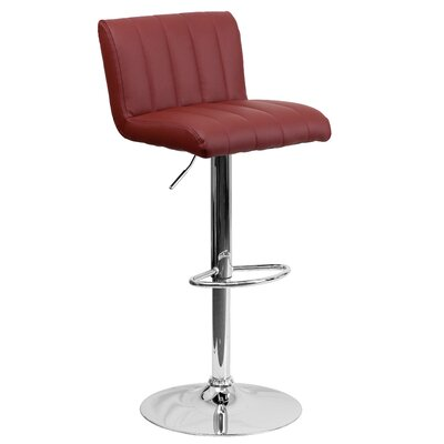 Alandra Adjustable Height Swivel Bar Stool Upholstery: Burgundy