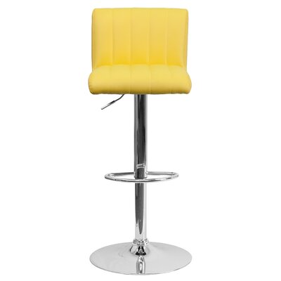 Alandra Adjustable Height Swivel Bar Stool Upholstery: Yellow