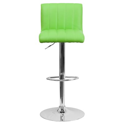 Alandra Adjustable Height Swivel Bar Stool Upholstery: Green