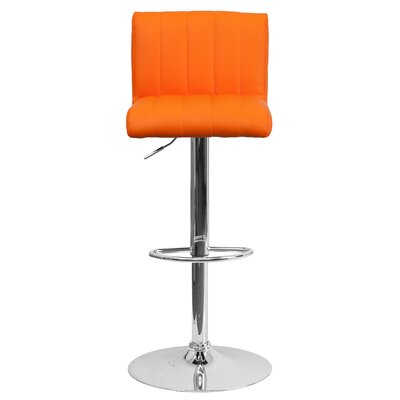 Alandra Adjustable Height Swivel Bar Stool Upholstery: Orange
