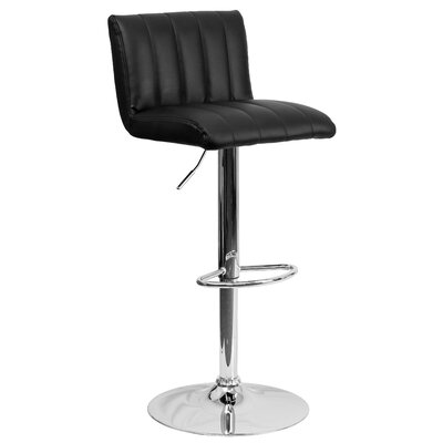 Alandra Adjustable Height Swivel Bar Stool Upholstery: Black