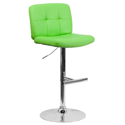 Alandra Adjustable Height Swivel Bar Stool (Set of 2) Upholstery: Green