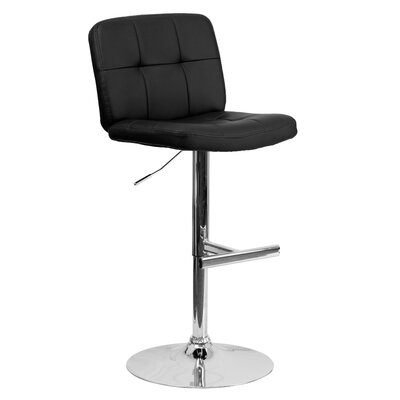Alandra Adjustable Height Swivel Bar Stool (Set of 2) Upholstery: Black