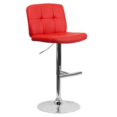 Alandra Adjustable Height Swivel Bar Stool (Set of 2) Upholstery: Red