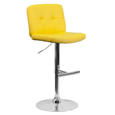 Alandra Adjustable Height Swivel Bar Stool (Set of 2) Upholstery: Yellow