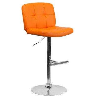 Alandra Adjustable Height Swivel Bar Stool (Set of 2) Upholstery: Orange