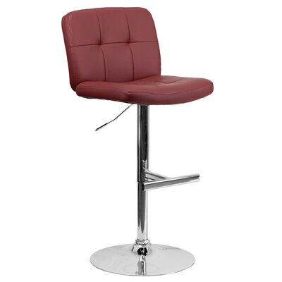 Alandra Adjustable Height Swivel Bar Stool (Set of 2) Upholstery: Burgundy