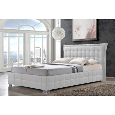Bianca Queen Upholstered Platform Bed Size: King, Finish: White