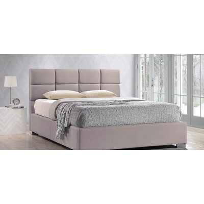 Eden Upholstered Platform Bed Size: Queen, Color: Beige