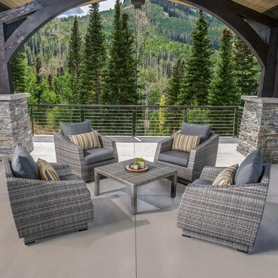 Melinda 5 Piece Deep Seating Group with Cushion Fabric: Charcoal