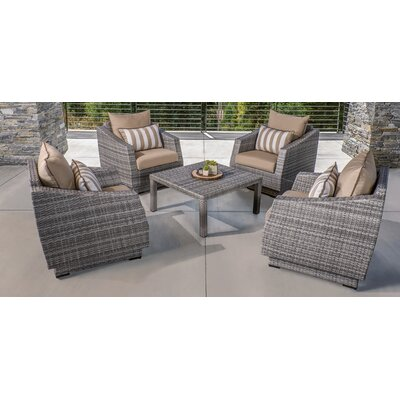 Melinda 5 Piece Deep Seating Group with Cushion Fabric: Maxim Beige