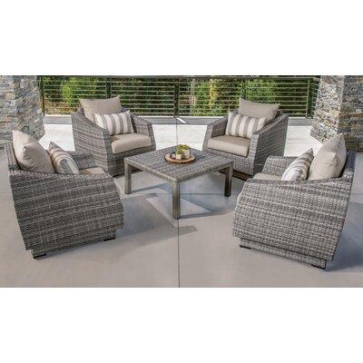 Melinda 5 Piece Deep Seating Group with Cushion Fabric: Slate Gray
