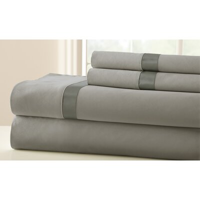 Coolidge 400 Thread Count Sheet Set Size: Queen, Color: Silver / Graphite