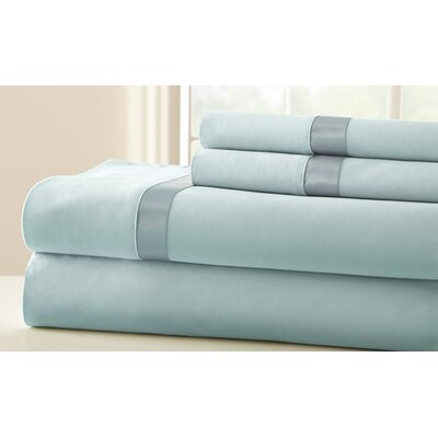 Coolidge 400 Thread Count Sheet Set Size: Queen, Color: Sterling Blue / Celestial Blue