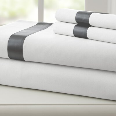 Coolidge 400 Thread Count Cotton Sheet Set Size: Queen, Color: White / Gray