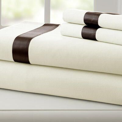 Coolidge 400 Thread Count Cotton Sheet Set Color: Ivory / Mocha, Size: Queen