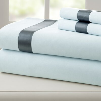 Coolidge 400 Thread Count Cotton Sheet Set Color: Blue / Celestial Blue, Size: King