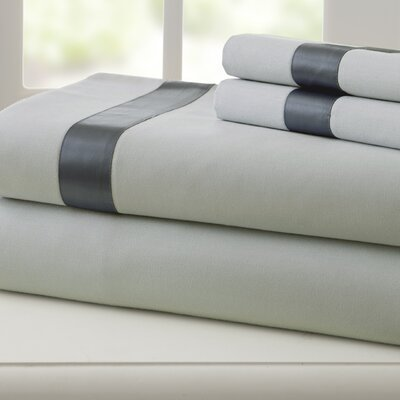 Coolidge 400 Thread Count Cotton Sheet Set Size: Twin, Color: Silver / Charcoal