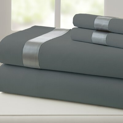 Coolidge 400 Thread Count Cotton Sheet Set Size: Full, Color: Charcoal / Silver