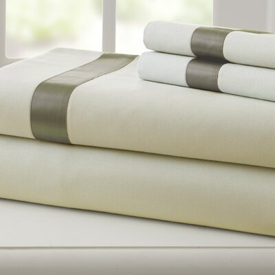 Coolidge 400 Thread Count Cotton Sheet Set Size: Twin, Color: Linen / Taupe