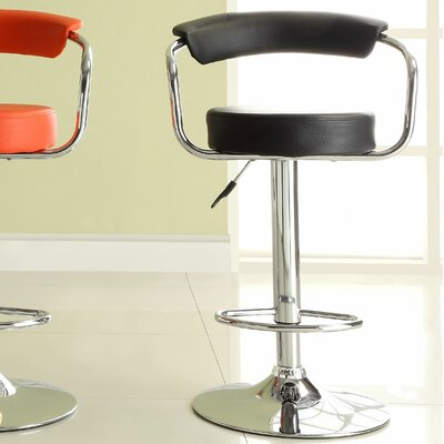 Agrippa Adjustable Height Swivel Aluminum Frame Bar Stool (Set of 2) Upholstery: Black