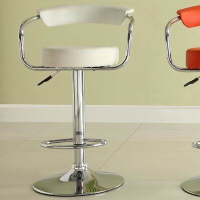 Equinox Adjustable Height Swivel Bar Stool (Set of 2) Upholstery: White