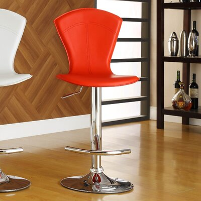 Agrippa Modern Adjustable Height Swivel Metal Frame Bar Stool (Set of 2) Upholstery: Red