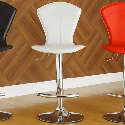 Agrippa Modern Adjustable Height Swivel Metal Frame Bar Stool (Set of 2) Upholstery: White