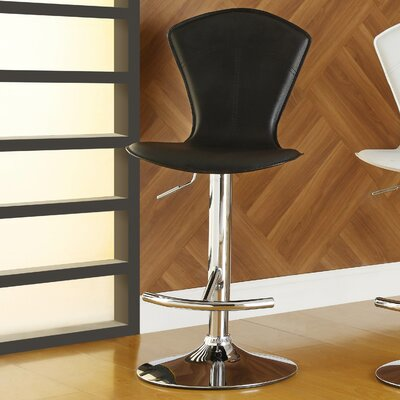 Agrippa Modern Adjustable Height Swivel Metal Frame Bar Stool (Set of 2) Upholstery: Black
