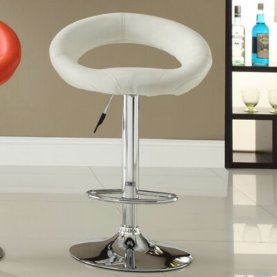 Agrippa Modern Adjustable Height Swivel Aluminum Frame Bar Stool (Set of 2) Upholstery: White