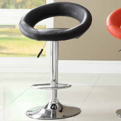 Equinox Adjustable Height Swivel Bar Stool (Set of 2) Upholstery: Black