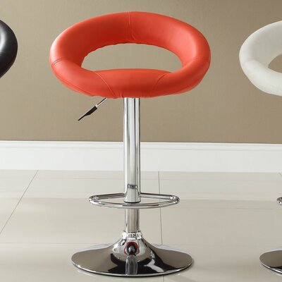 Agrippa Modern Adjustable Height Swivel Aluminum Frame Bar Stool (Set of 2) Upholstery: Red