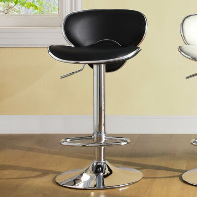 Agrippa Adjustable Height Swivel Metal Frame Bar Stool (Set of 2) Upholstery: Black