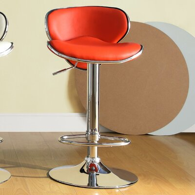 Agrippa Adjustable Height Swivel Metal Frame Bar Stool (Set of 2) Upholstery: Red