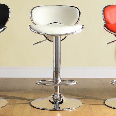 Agrippa Adjustable Height Swivel Metal Frame Bar Stool (Set of 2) Upholstery: White