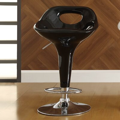 Agrippa Contemporary Adjustable Height Swivel Aluminum Frame Bar Stool (Set of 2) Upholstery: Black